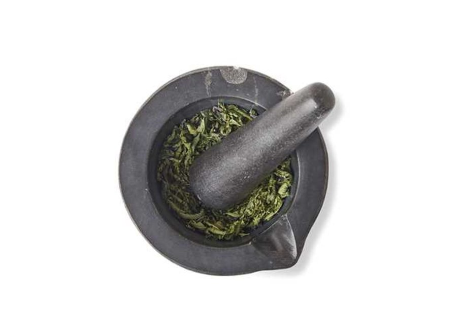 "Mortar & Pestle 4.7"" Black Marble"