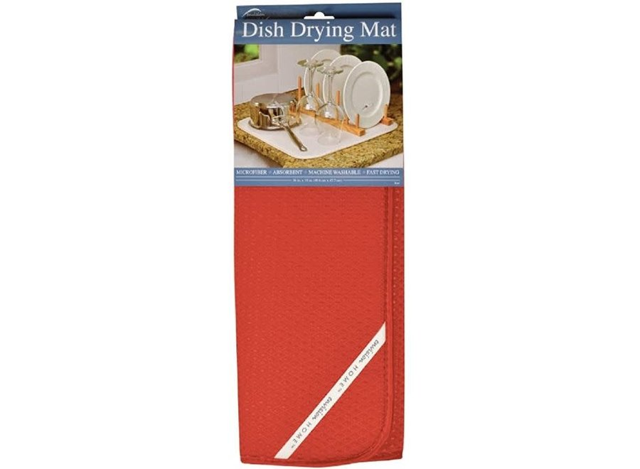 """Envision Home Red Dish Drying Mat 16""""x18"""" Absorbent Microfiber Durable"""