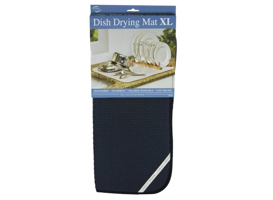 """Envision Home Black 18"""" x 24 """" XL Dish Drying Mat Absorbent Microfiber Durable"""