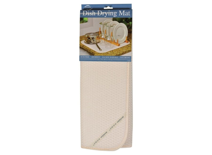 "Envision Home Cream Dish Drying Mat 16""x18"" Absorbent Microfiber Durable"