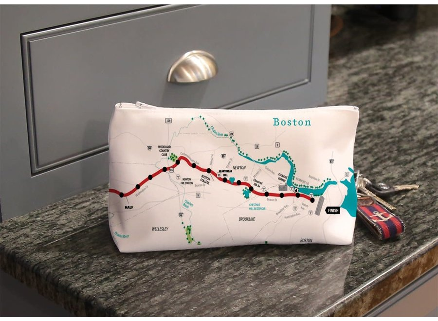 Makeup Bag Boston Marathon Map