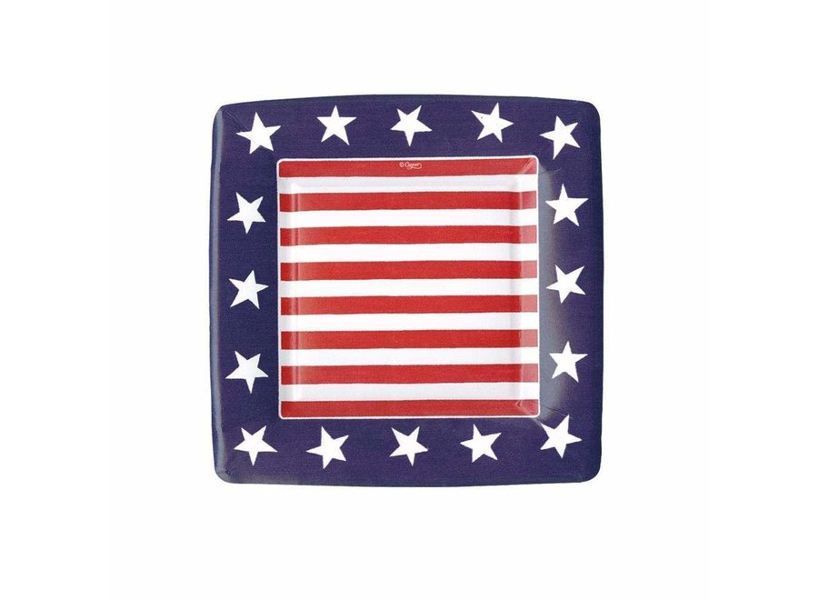 Red, White & Blue Square Paper Salad & Dessert Plates - 8 Per Package