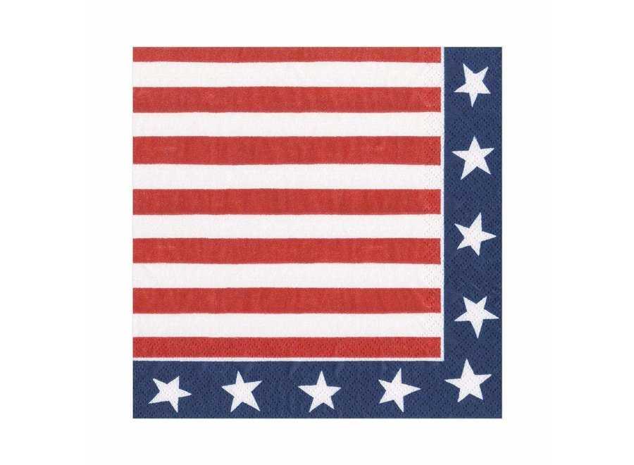 Red, White & Blue Paper Cocktail Napkins - 20 Per Package