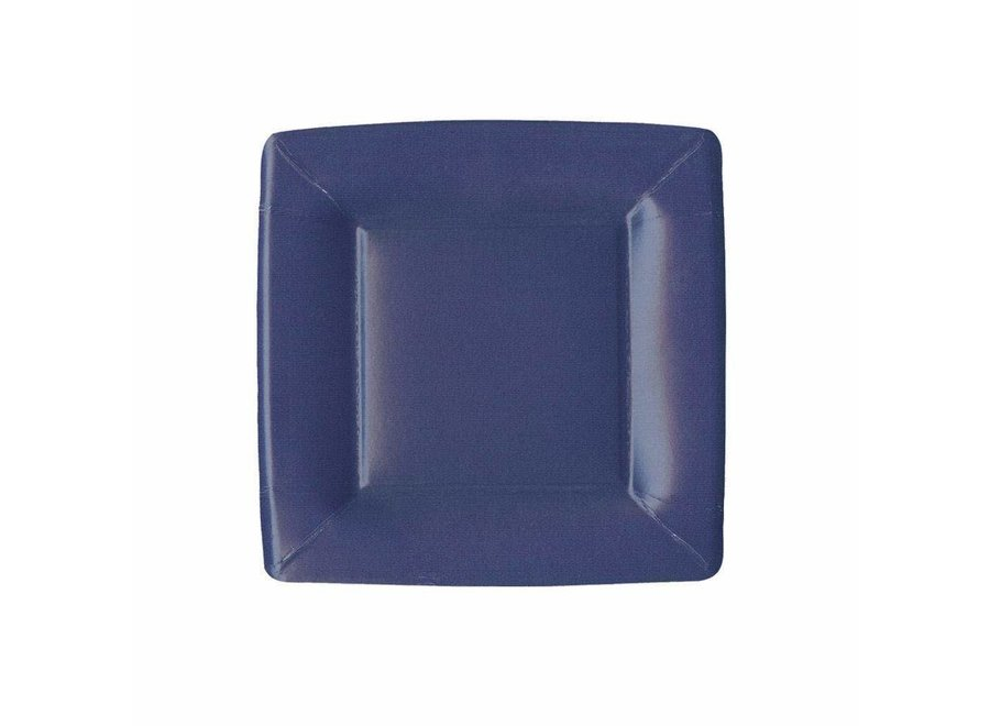 Grosgrain Border Square Paper Salad & Dessert Plates in Navy - 8 Per Package