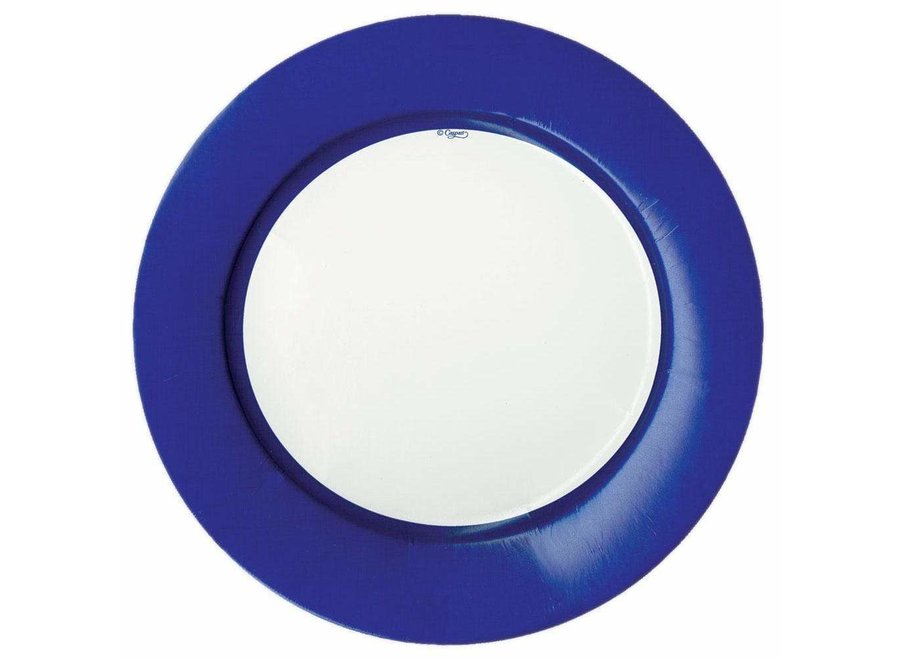 Linen Border Paper Dinner Plates in Blue - 8 Per Package