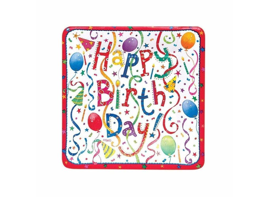 Happy Birthday Square Paper Salad & Dessert Plates - 8 Per Package