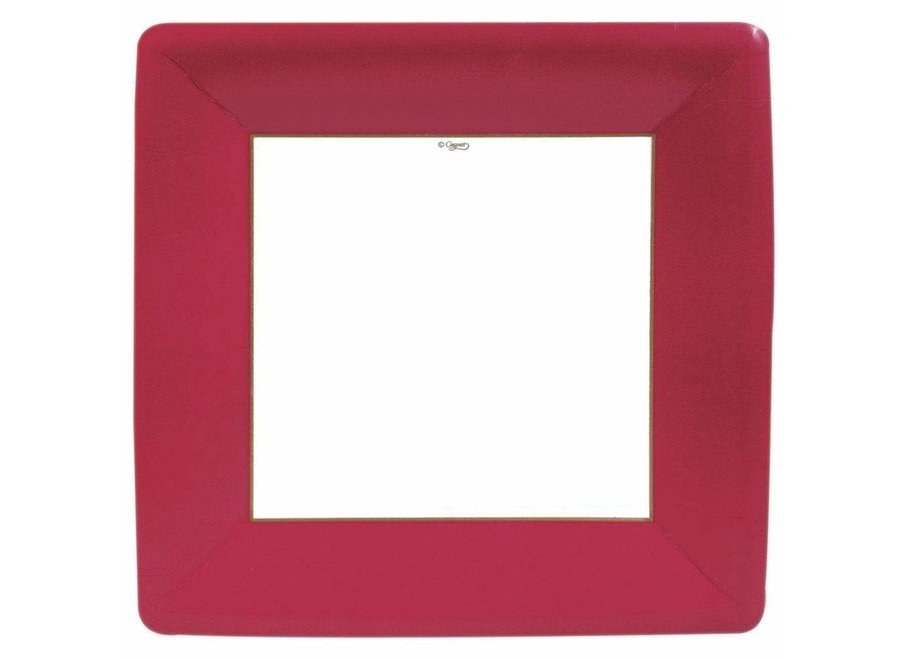 Grosgrain Square Paper Dinner Plates in Red - 8 Per Package