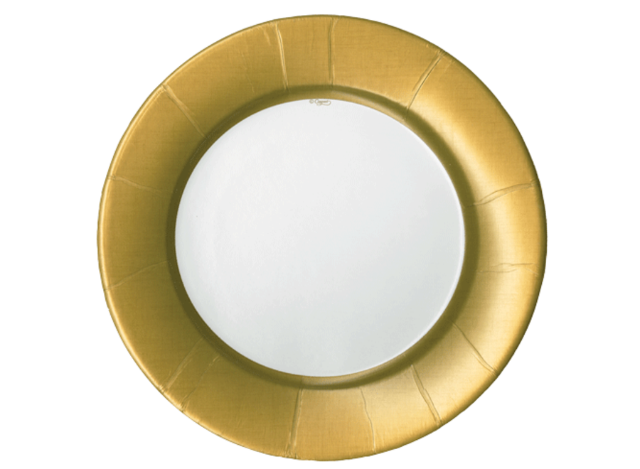 Linen Border Paper Dinner Plates in Gold - 8 Per Package