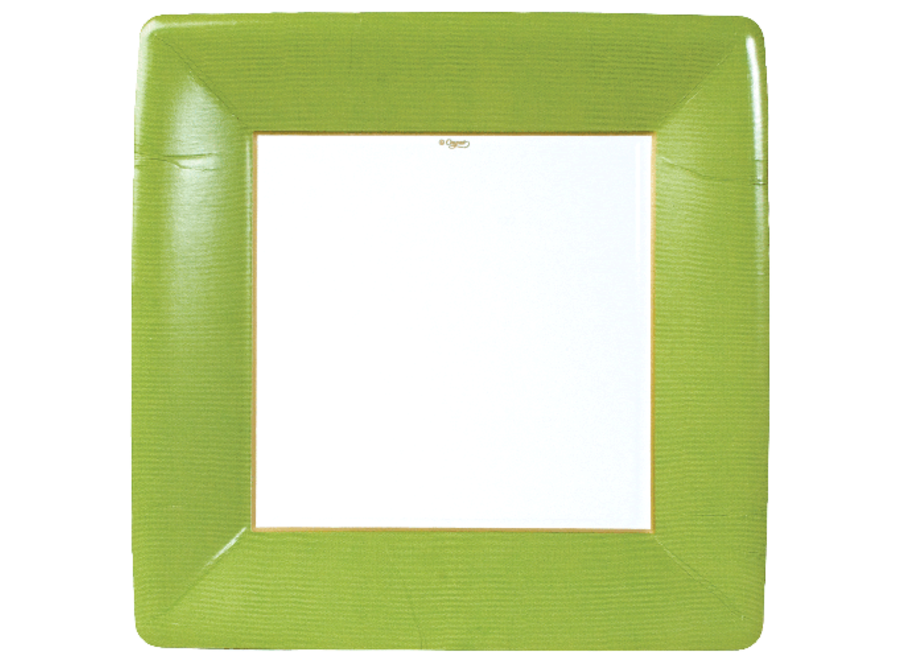 Grosgrain Square Paper Dinner Plates in Moss Green - 8 Per Package