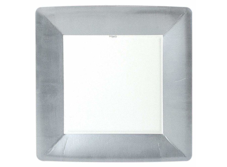 Silver Leaf Square Paper Dinner Plates - 8 Per Package