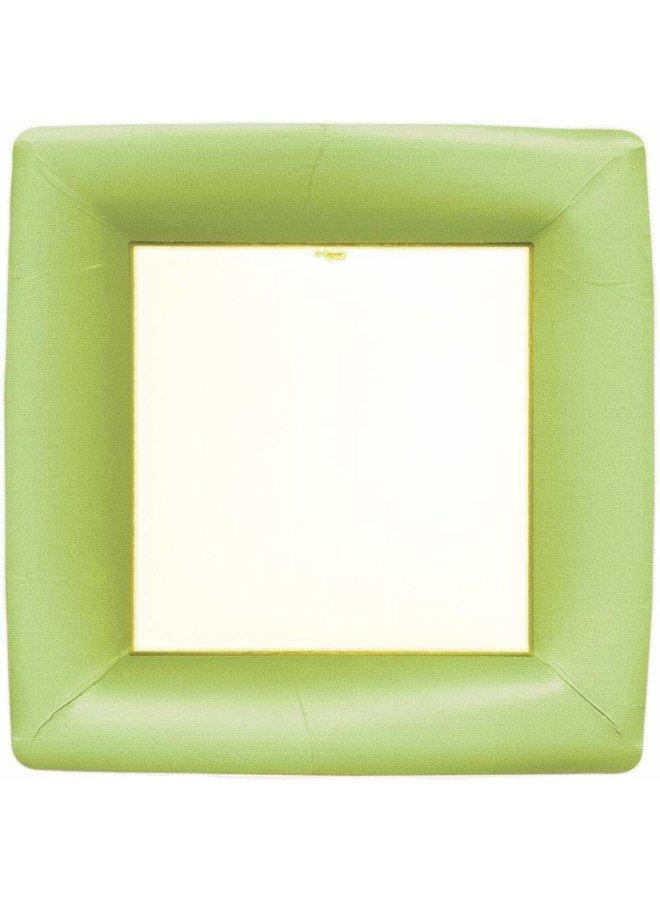 Grosgrain Square Paper Dinner Plates in Green - 8 Per Package