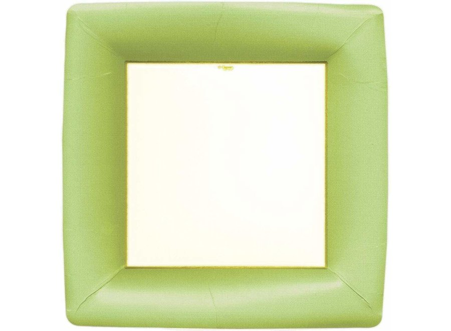 Grosgrain Square Paper Dinner Plates in Green - 8 Per Package