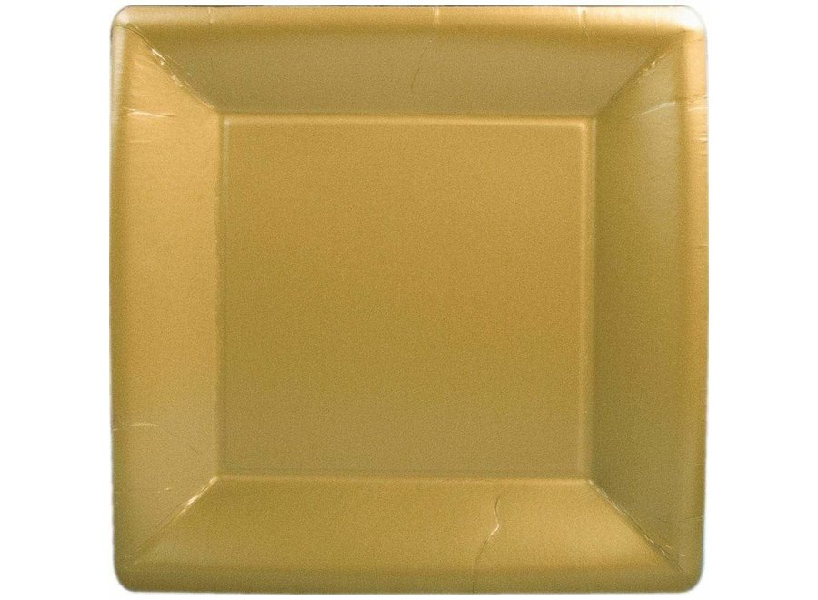 Solid Square Paper Dinner Plates in Gold - 8 Per Package