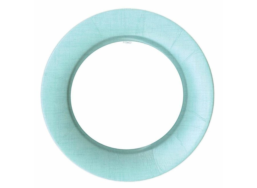Linen Border Paper Dinner Plates in Robin's Egg Blue - 8 Per Package