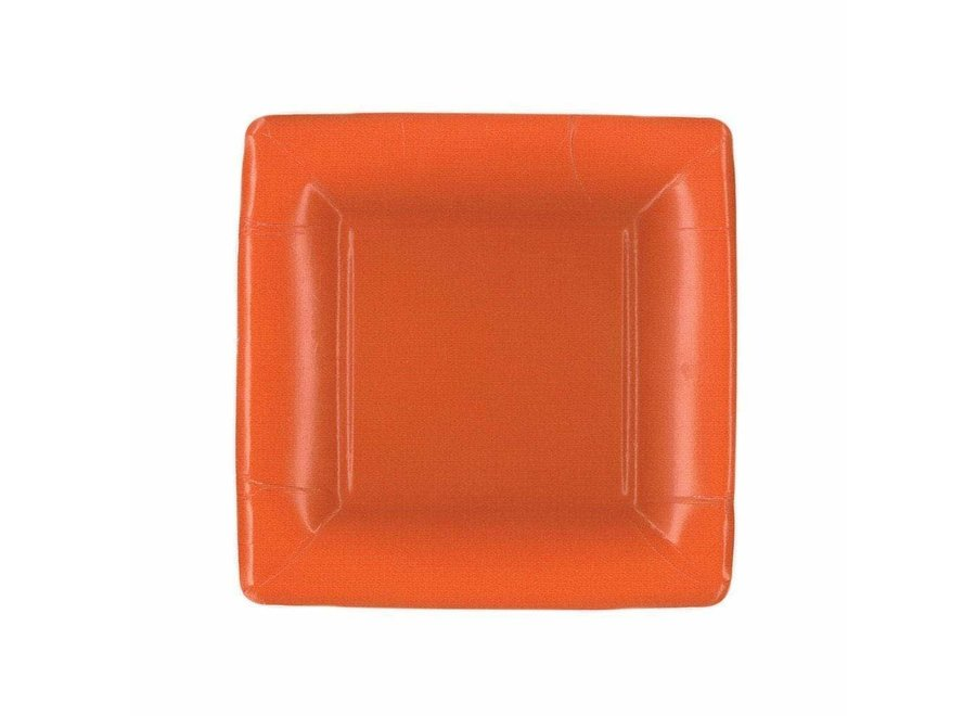 Grosgrain Square Paper Salad & Dessert Plates in Deep Orange - 8 Per Package