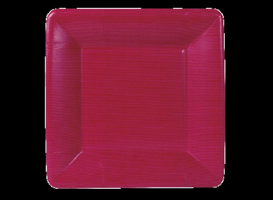 Grosgrain Square Paper Salad & Dessert Plates in Rose - 8 Per Package