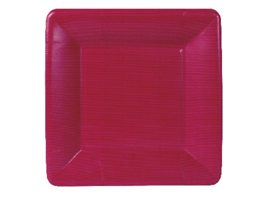 Grosgrain Square Paper Salad & Dessert Plates in Rose - 8 Per Package