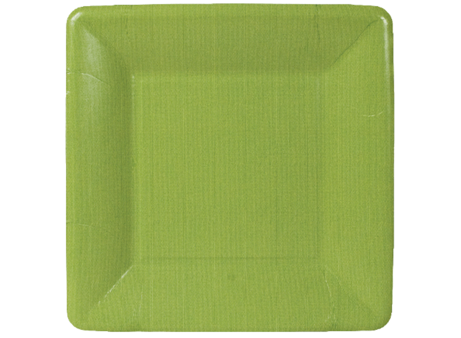 Grosgrain Square Paper Salad & Dessert Plates in Moss Green - 8 Per Package