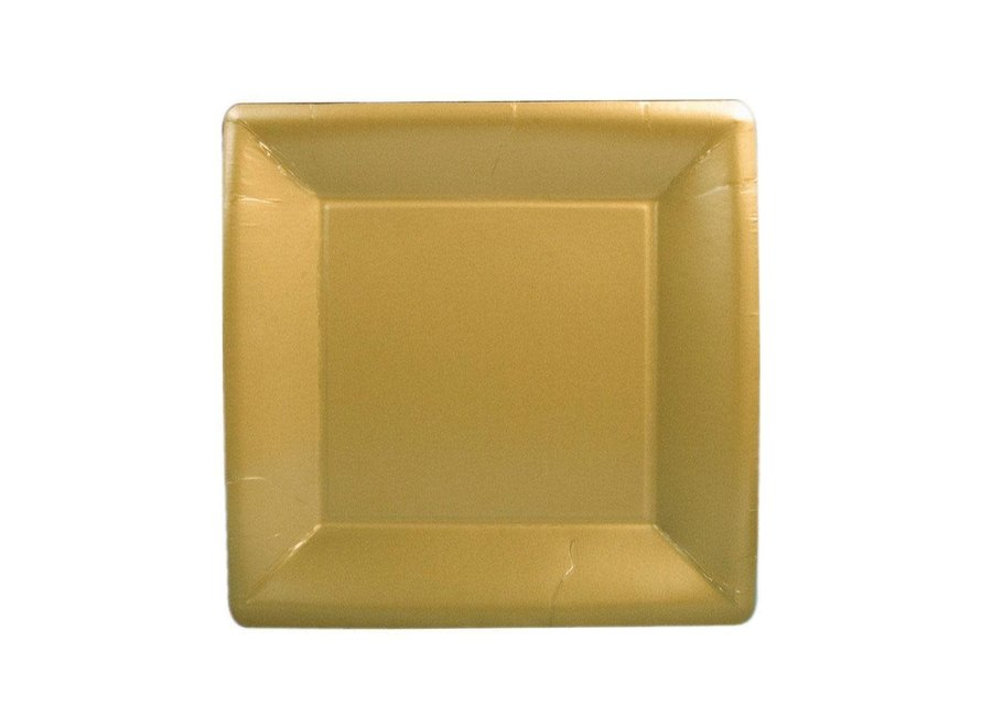 Solid Square Paper Salad & Dessert Plates in Gold - 8 Per Package