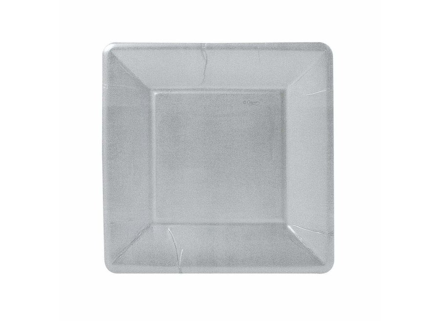 Silver Leaf Square Paper Salad & Dessert Plates - 8 Per Package