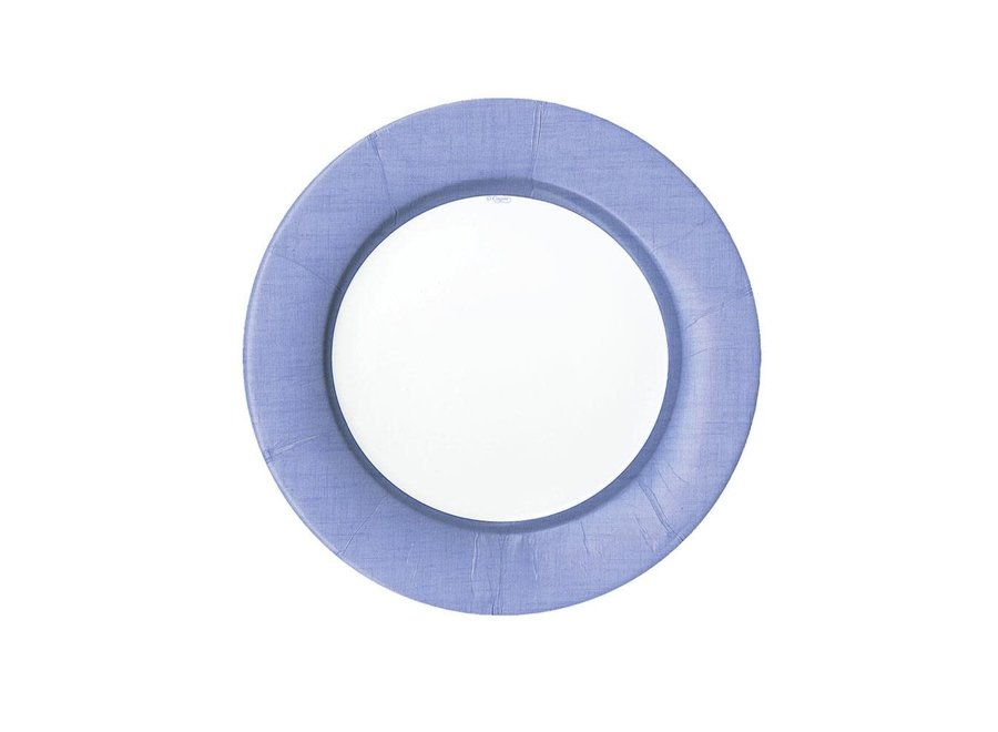 Linen Border Paper Salad & Dessert Plates in Lavender - 8 Per Package