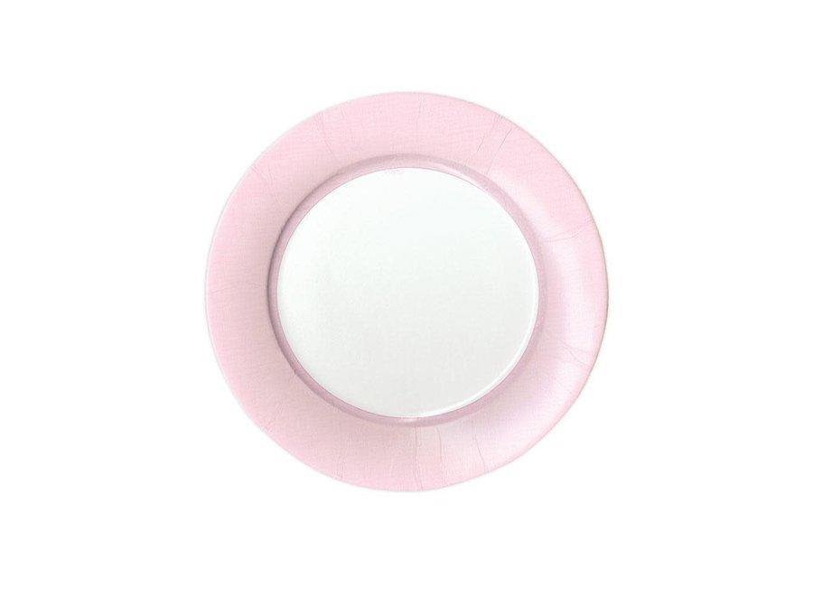 Linen Border Paper Salad & Dessert Plates in Petal Pink - 8 Per Package