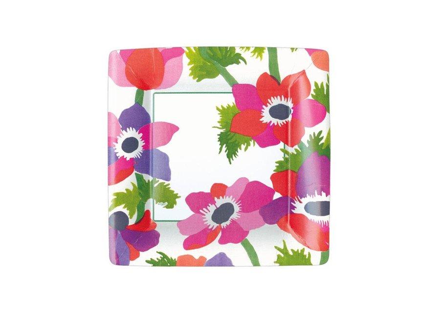 Poiret Floral Paper Salad & Dessert Plates in Ivory - 8 Per Package