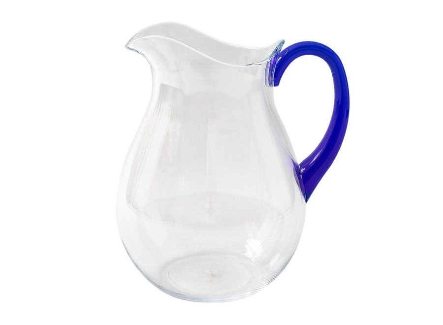 Acrylic Pitcher in Clear with Cobalt Handle - 1 Each