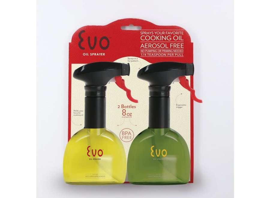 Evo Oil Sprayer, Non-Aerosol for Olive Oil and Cooking Oils, Set of 2 Bottles, 8oz