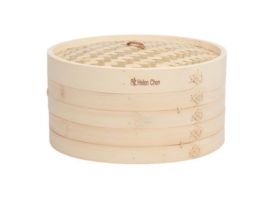 Bamboo Steamer with Lid, Set of 3, 12in