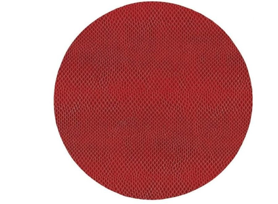 Snakeskin Felt-Backed Placemat in Crimson - 1 Each