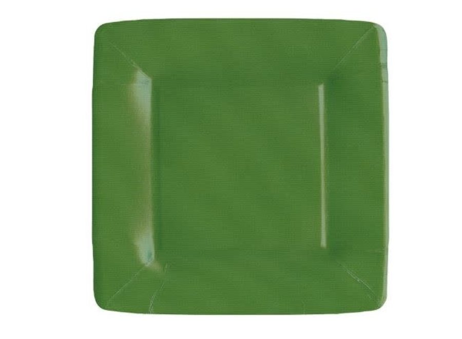 Grosgrain Square Paper Salad & Dessert Plates in Hunter Green - 8 Per Package