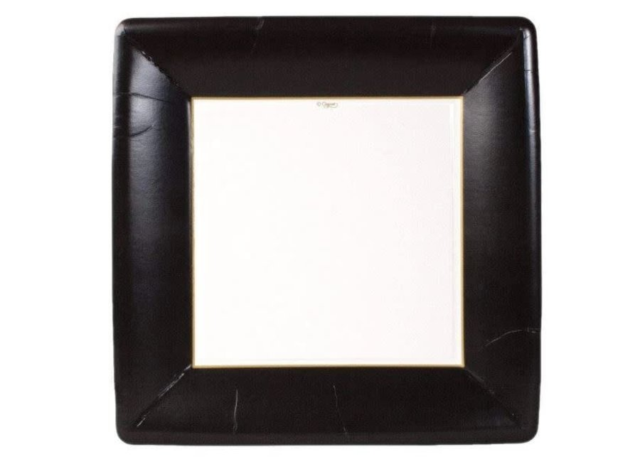 Grosgrain Square Paper Dinner Plates in Black - 8 Per Package