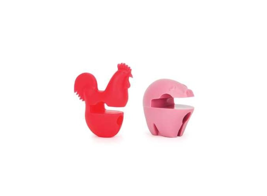 Pig and Rooster Pot Clip