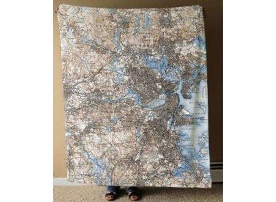 Fleece Blanket Vintage Boston Map in Blue