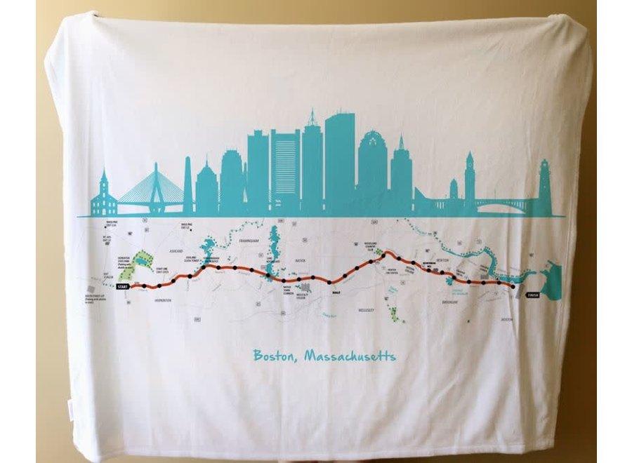 Fleece  Blanket of Boston Marathon Route