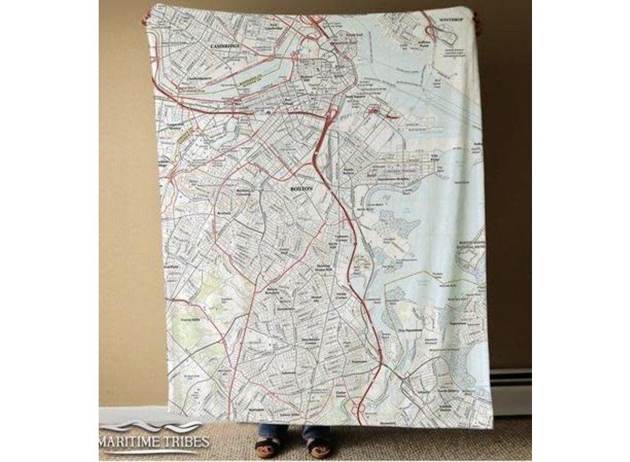 Fleece Blanket Modern Topography Map of Boston
