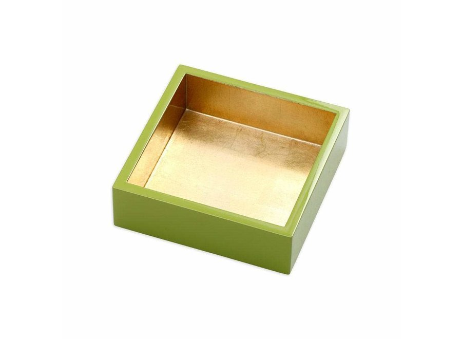 Lacquer Cocktail Napkin Holder in Sage & Gold - 1 Each