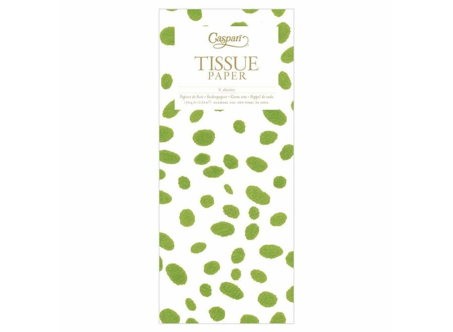 Spots Tissue Paper in Green - 4 Sheets Included