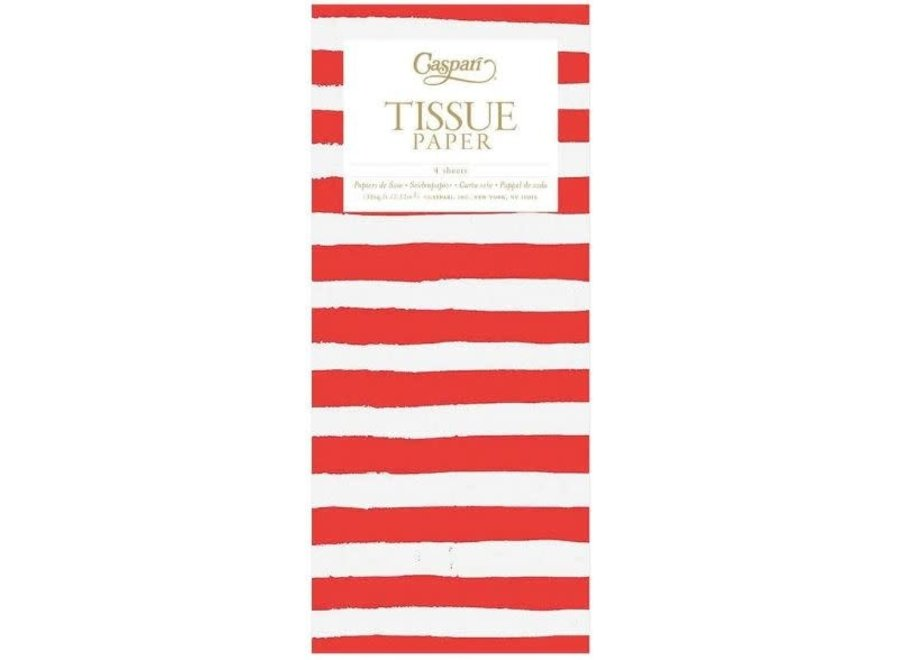 Painted Stripe Tissue Paper in Red & White - 4 Sheets Included