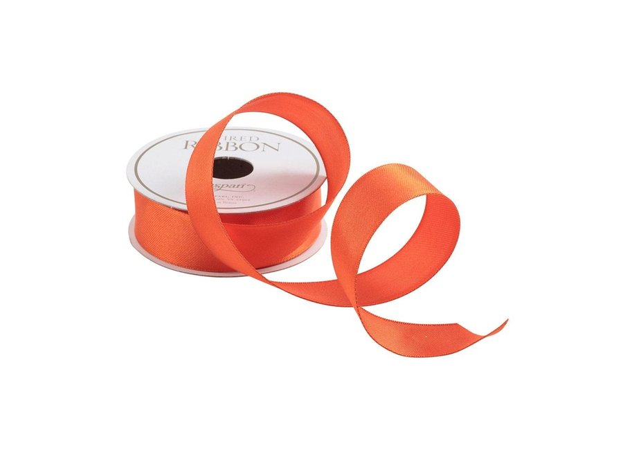 Narrow Solid Orange Satin Ribbon - 8 Yard Spool