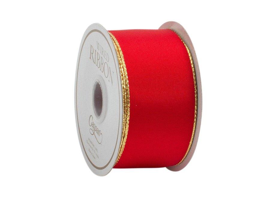 Red & Thin Gold Edge Ribbon - 8 Yard Spool