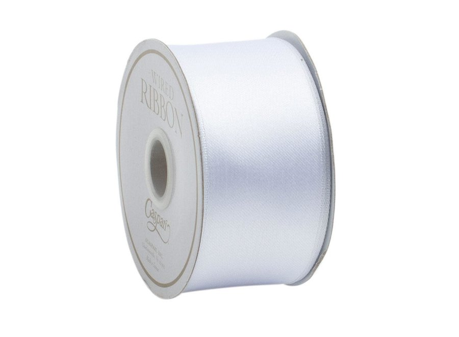 Solid White Satin Wired Ribbon - 9 Yard Spool