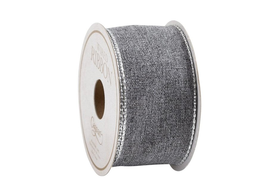 Grey & Silver Edge Ribbon - 8 Yard Spool
