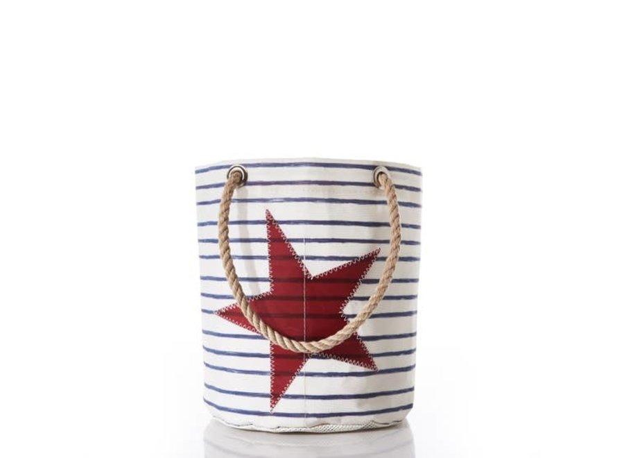 Beachcomber Bucket Bag, Breton Stripe and star