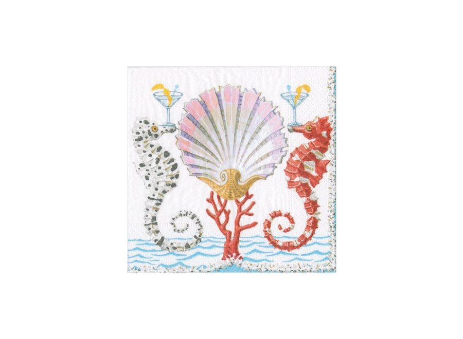 Seahorses and Shell Paper Cocktail Napkins - 20 Per Package