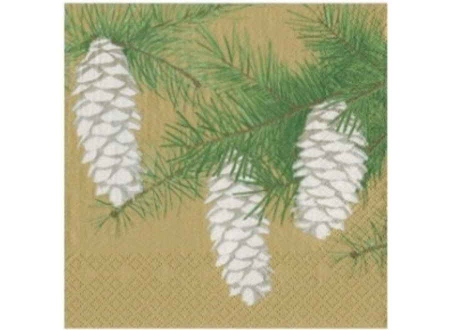 Pinecones Paper Cocktail Napkins in Gold - 20 Per Package