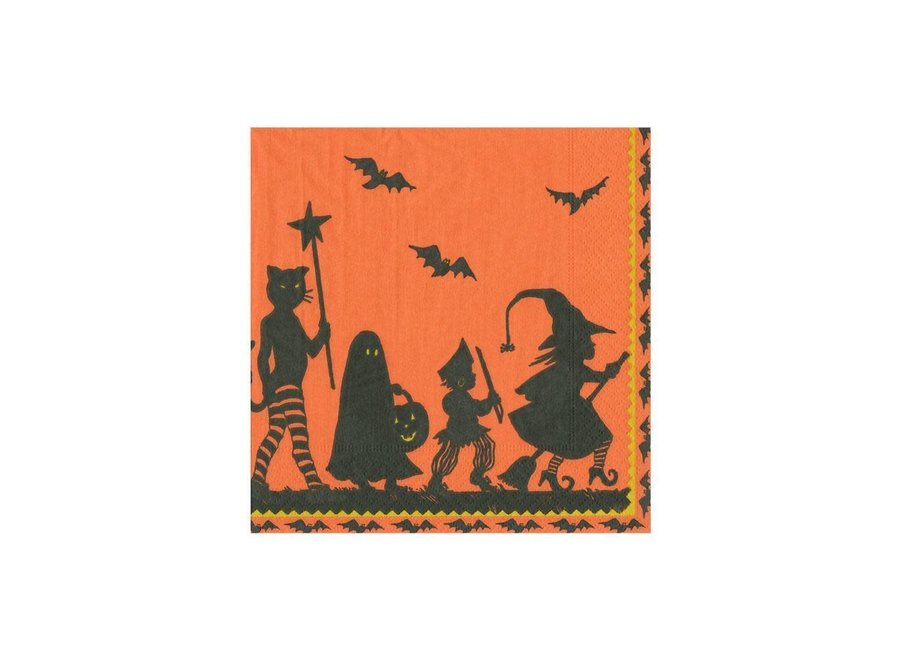 Halloween Parade Paper Cocktail Napkins in Ivory & Orange - 20 Per Package