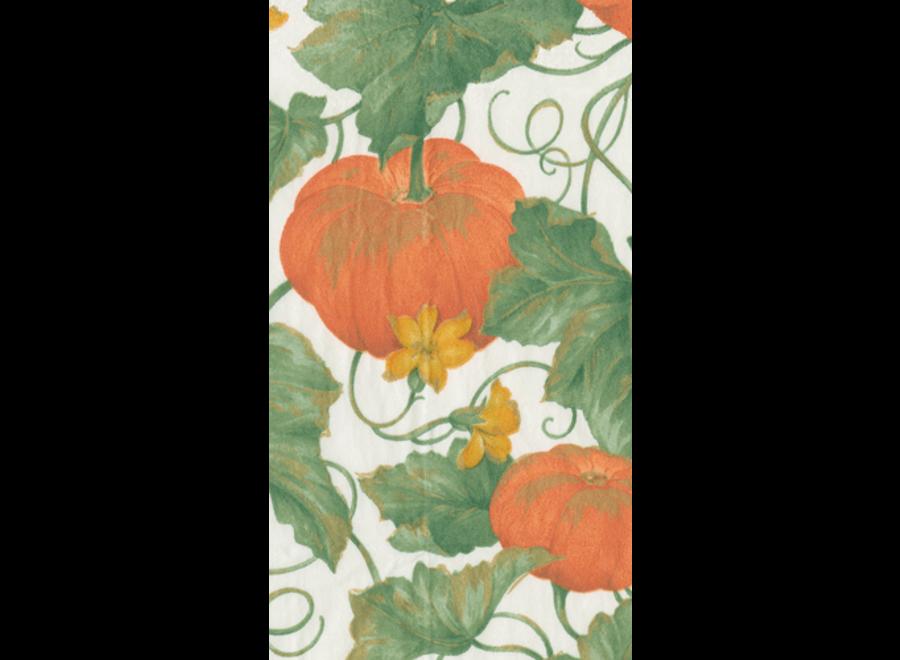 Heirloom Pumpkins in Ivory Paper Guest Towel Napkins in Green - 15 Per Package
