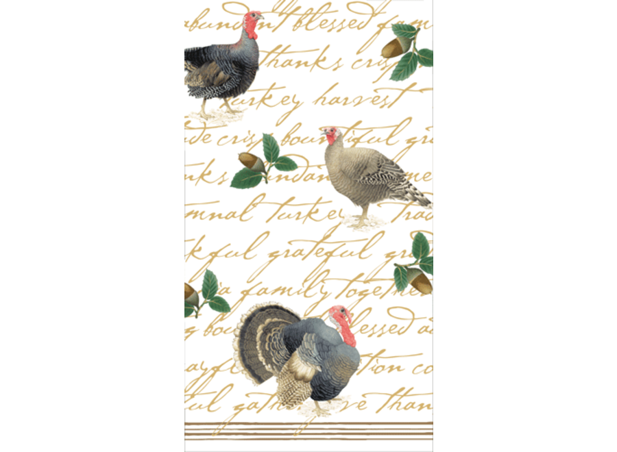Founders Thanksgiving Paper Guest Towel Napkins in Green - 15 Per Package